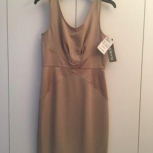 Rachel Zoe Evening Knee Length Beige/ Gold Dress